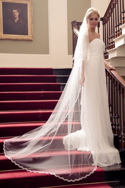 Bride on stairs wearing chapel length veil with a narrow lace edge