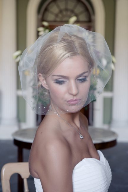 Maddison – Cut edge birdcage veil with a diamante border