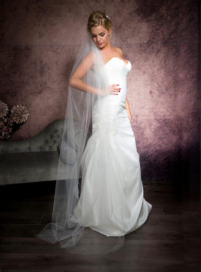 Bride posing in one tier floor length veil