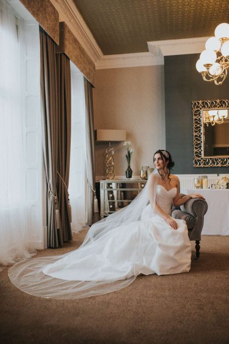 Natalia – one layer chapel length veil with a rhinestone trim