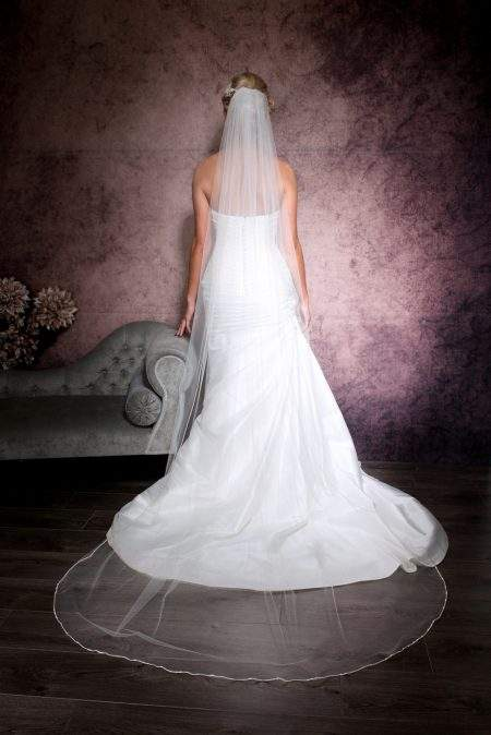 Natalia – one layer chapel length veil with a rhinestone trim