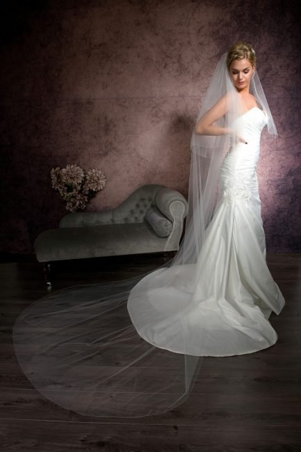 Nikki – two layer cathedral length veil with a simple edge finish