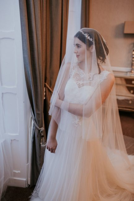 Opal – two tier chapel length beaded drop veil in Silk Effect tulle