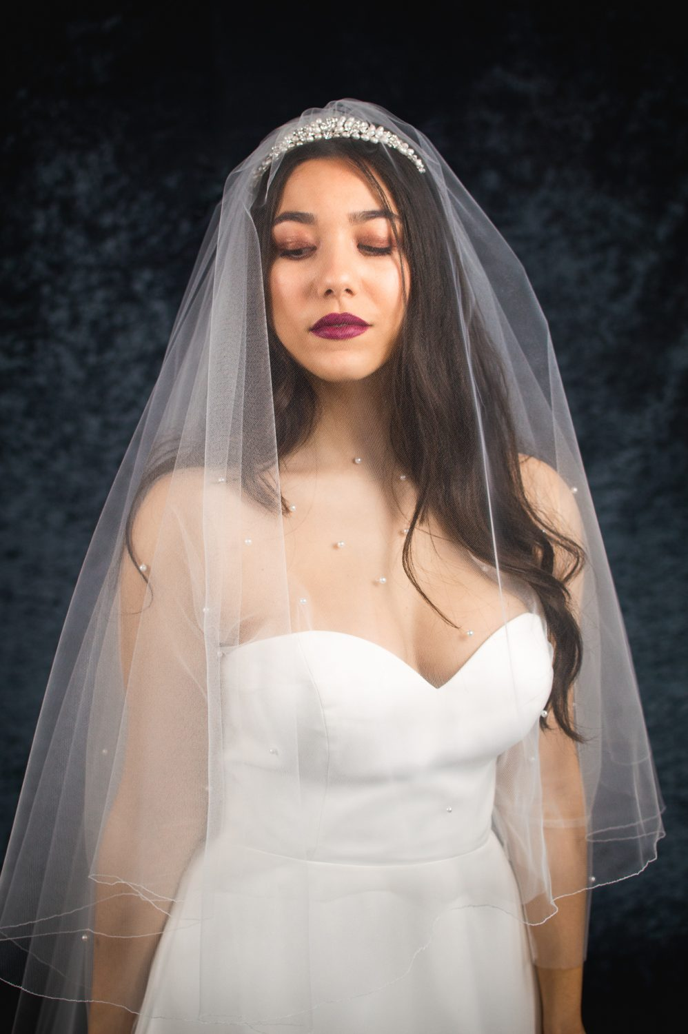 Paige – two layer chapel length veil with a simple pencil edge
