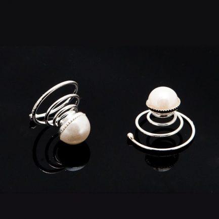 HT491 – single pearl bridal hair twisties – pack of six