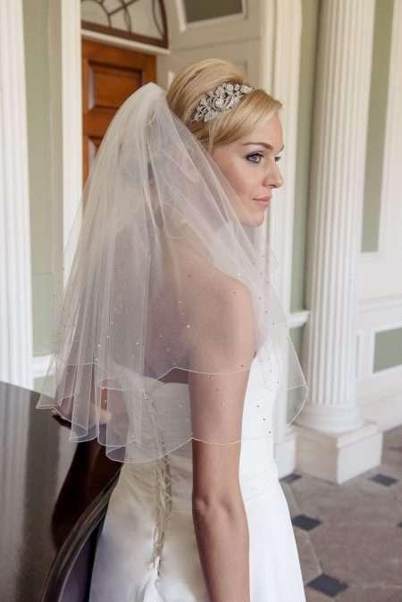 Rain triple diamante beaded veil in elbow length alt