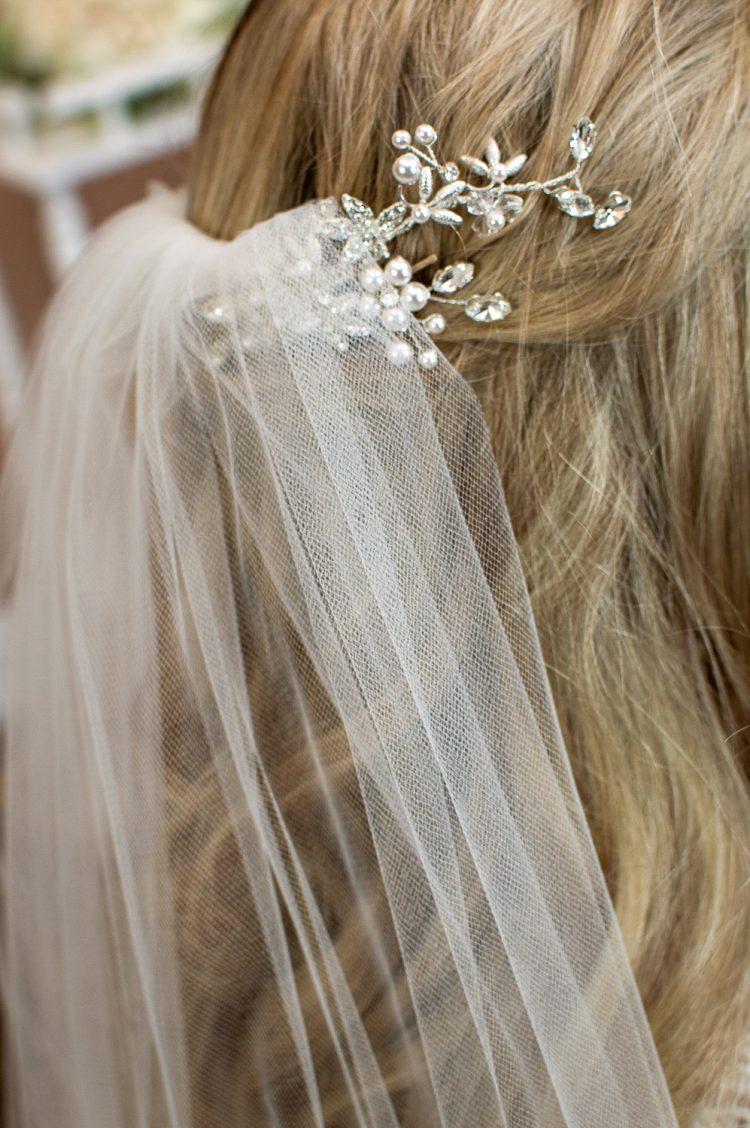 Skye - beautifully plain hand cut single layer chapel length wedding comb closeup