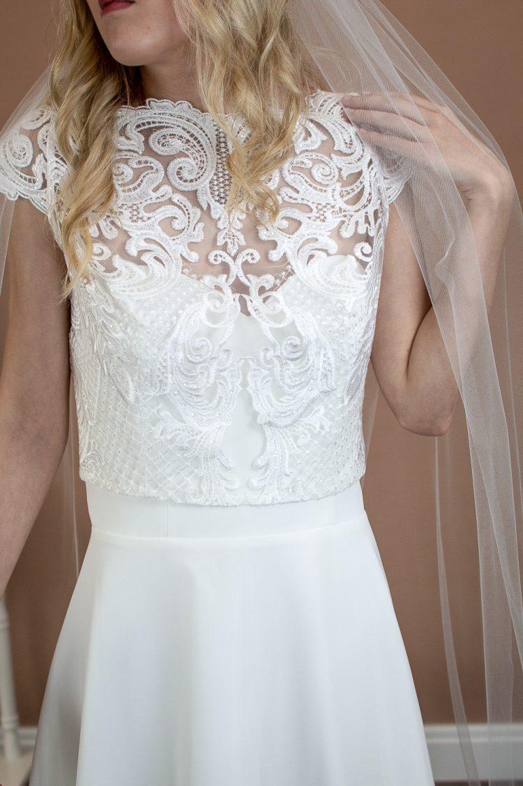 Skye - beautifully plain hand cut single layer chapel length wedding veil closeup