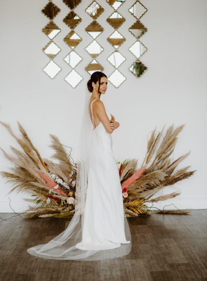 Skye - simple chapel length wedding veil