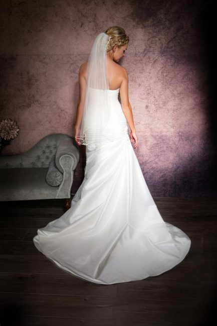 Sophia – one layer hip length veil with rhinestone edging