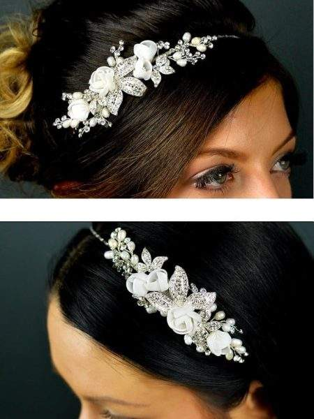 TLT4523 – freshwater pearls, diamante with organza flowers