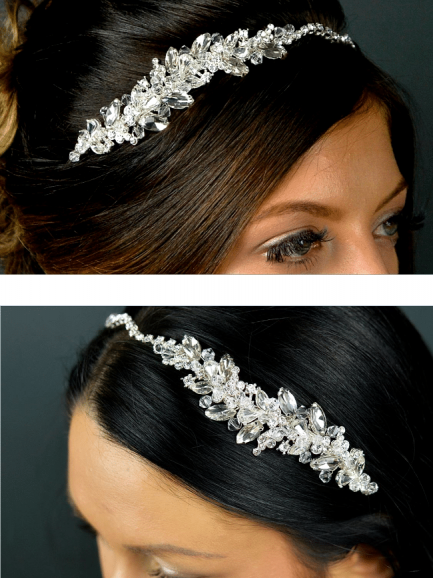 TLT4552 – clustered crystal & diamante side headband