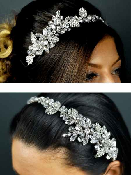 TLT4575 – crystal & diamante side headband with metal leaves