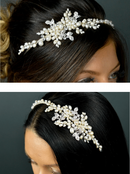 SALE! TLT4633 – hand wired pearl & diamante side headband