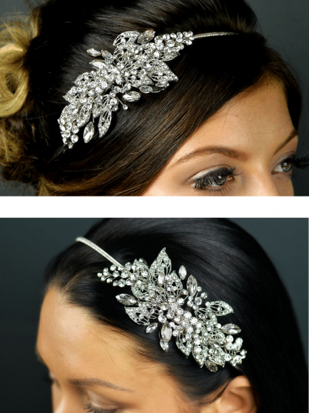 TLT4653 – rhodium crystal & diamante side tiara