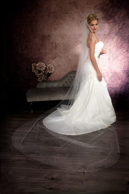 Tiffany – single layer cathedral length veil with a diamante border