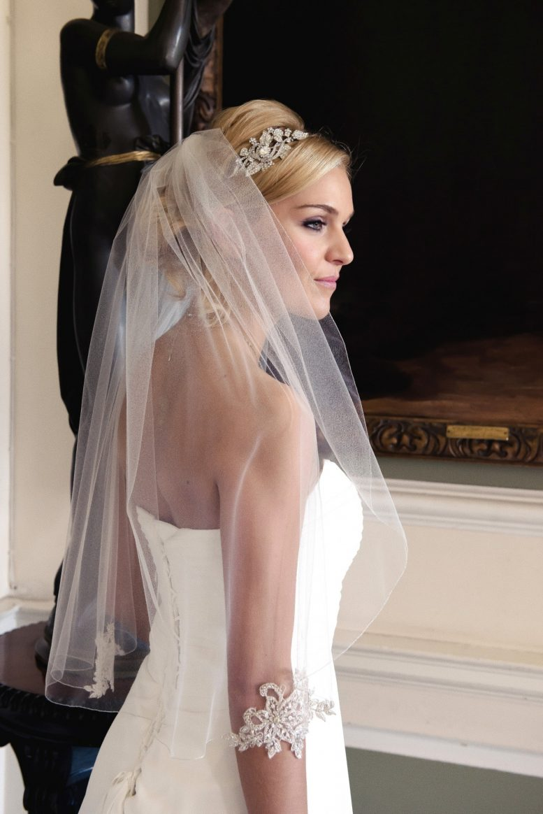 veil with silver lace