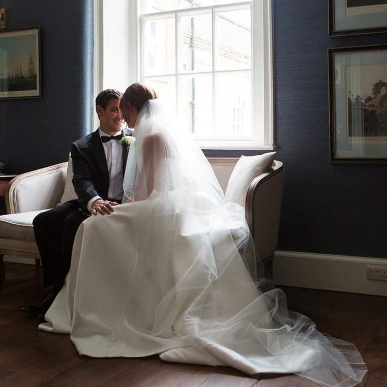Long two tier chapel length wedding bridal veil on real bride Becka wearing Jesus Peiro