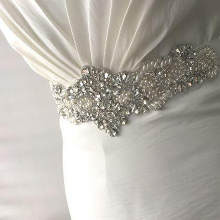LBE364 – beaded bridal belt with pearls & clusters of teardrop rhinestones