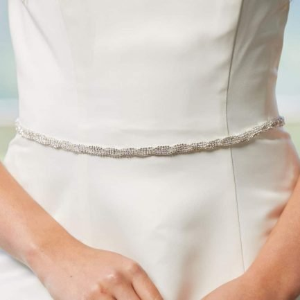 LBE385 – narrow diamante belt with satin ribbon