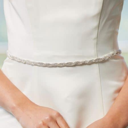 LBE385 – narrow diamante belt with satin ribbon