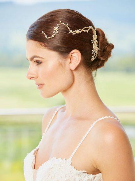 LP727 – floral diamante hair vine in gold or silver