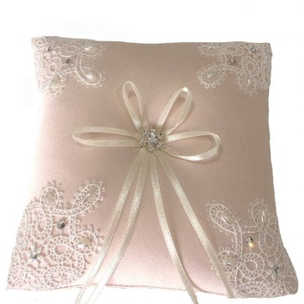 LR032 blush ring cushion in satin with guipure lace & beads