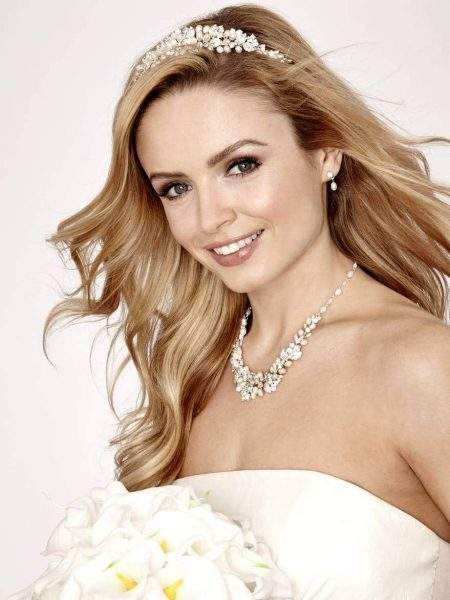 SALE! LT574 – Ivory pearl and silver diamante bridal tiara