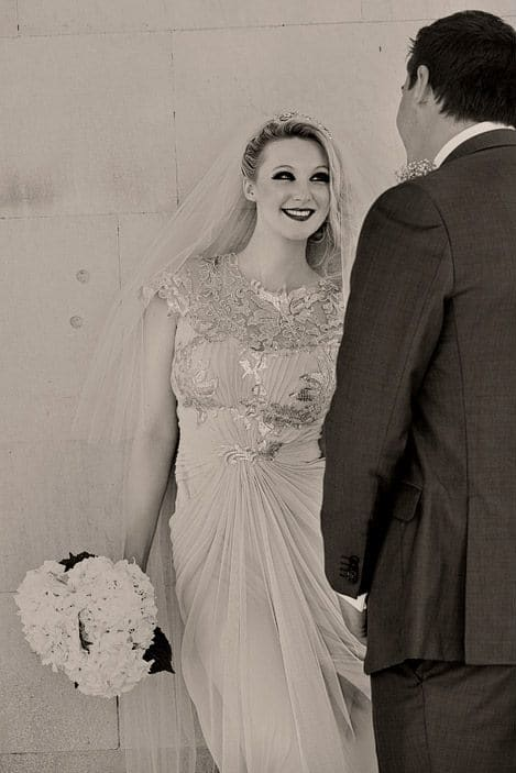 Two layer floor length Champagne veil on real bride Rachel