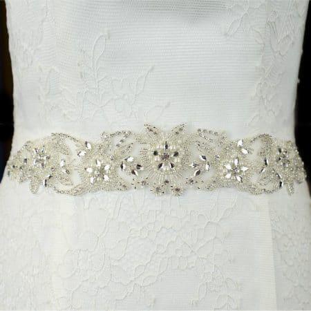 TLBB1020 – diamante, pearl & seed bead bridal belt