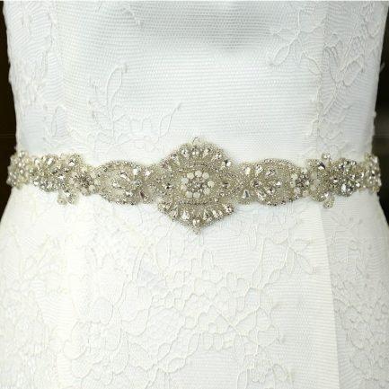 TLBB1026 – beaded bridal belt with opals & diamantes