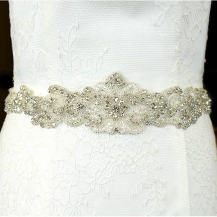 TLBB1027 – beaded lace applique bridal belt with diamantes & pearls