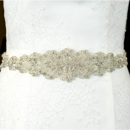 TLBB1029 – beaded lace applique bridal belt with diamantes & bugle beads
