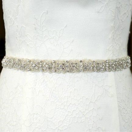 TLBB1030 – narrow lace & diamante bridal belt
