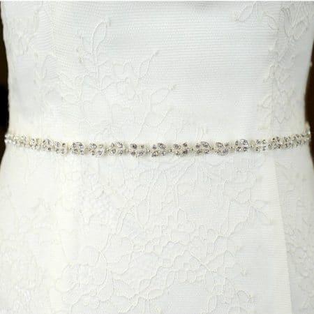 TLBB1033 – narrow diamante bridal belt with simple leaf design