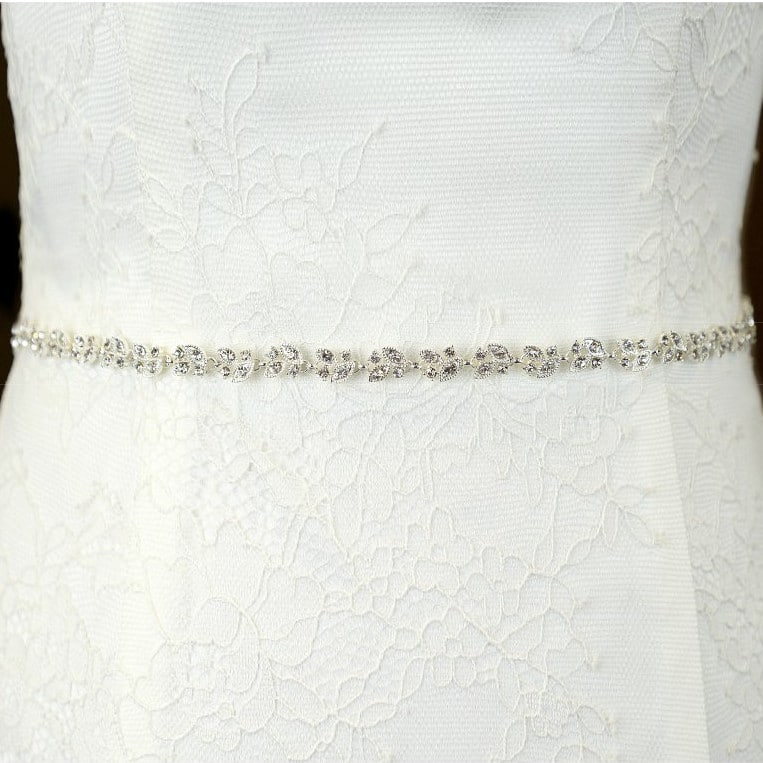 TLBB1033 narrow diamante bridal belt