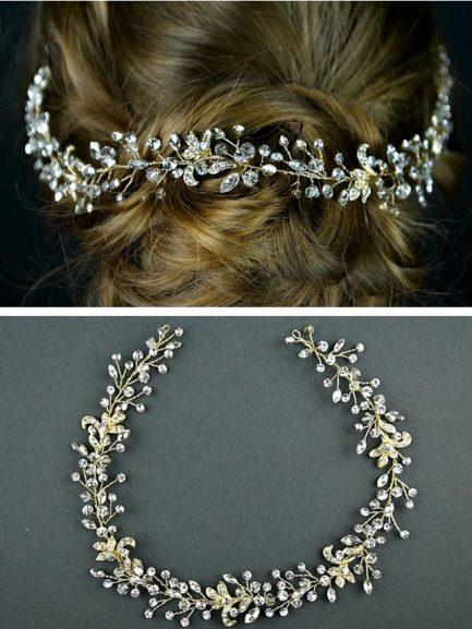 TLH3076 – light gold diamante bridal hair vine
