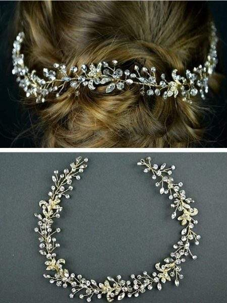 TLH3076 – light gold diamante bridal hair vine