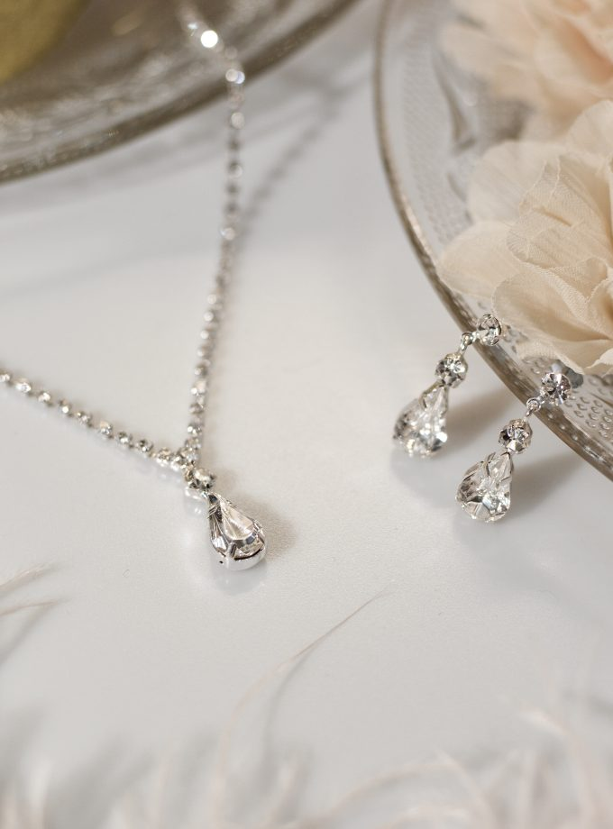 TLS1547 bridal wedding jewellery set with teardrop crystals