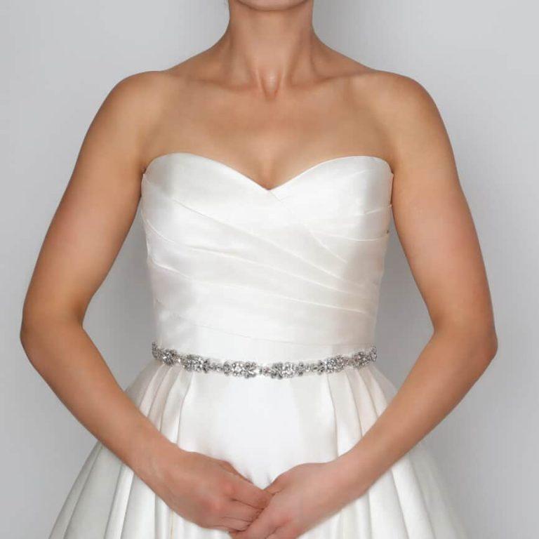 PBB1001 bridal belt with diamantes on model