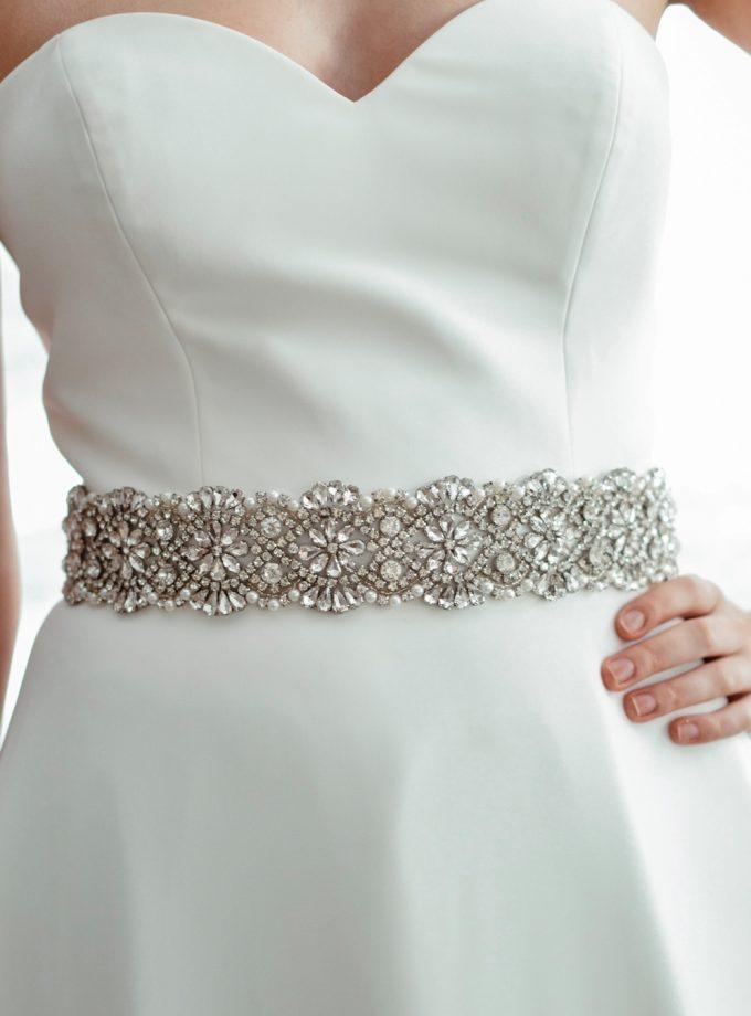 PBB1008 - wide sparkly bridal wedding dress belt on model 1