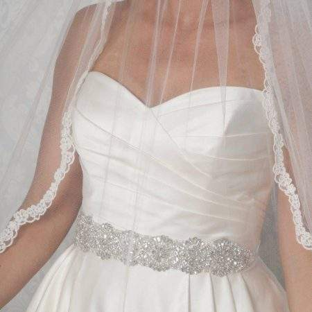 PBB1008 wide sparkly bridal wedding dress belt on model