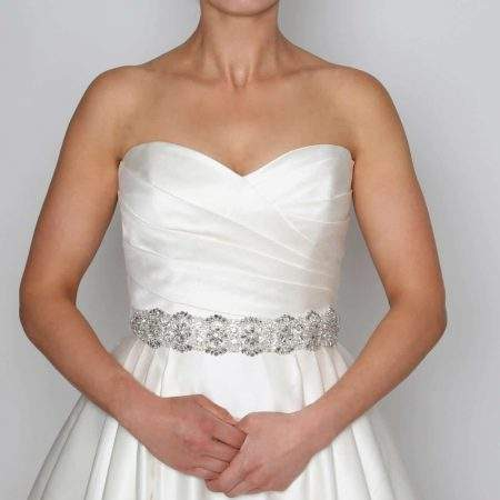 PBB1008 – wide diamante & pearl bridal belt on ribbon sash