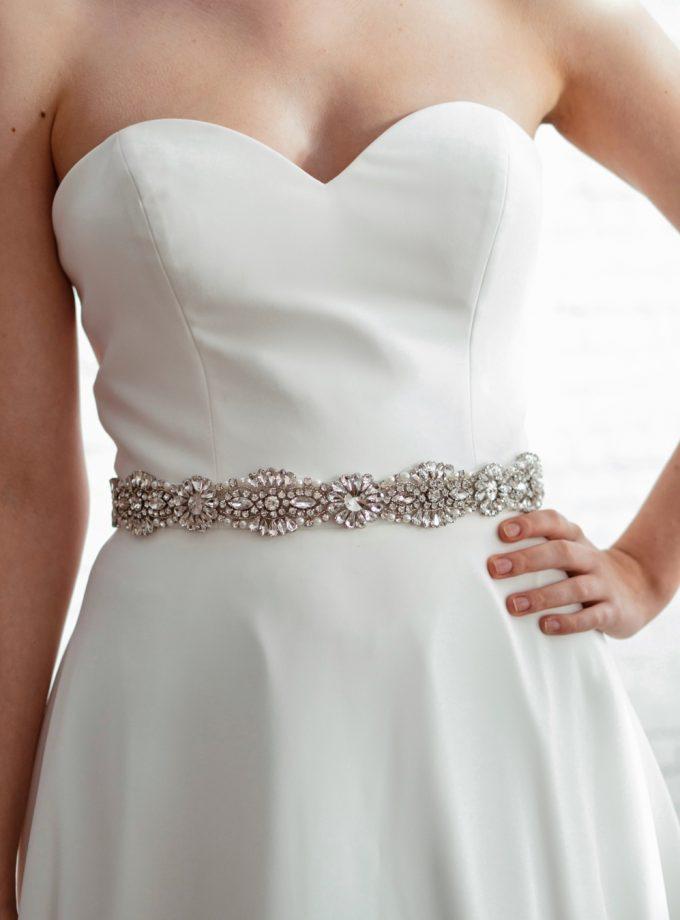 PBB1012 – diamante, pearl & seed bead bridal belt on model 3