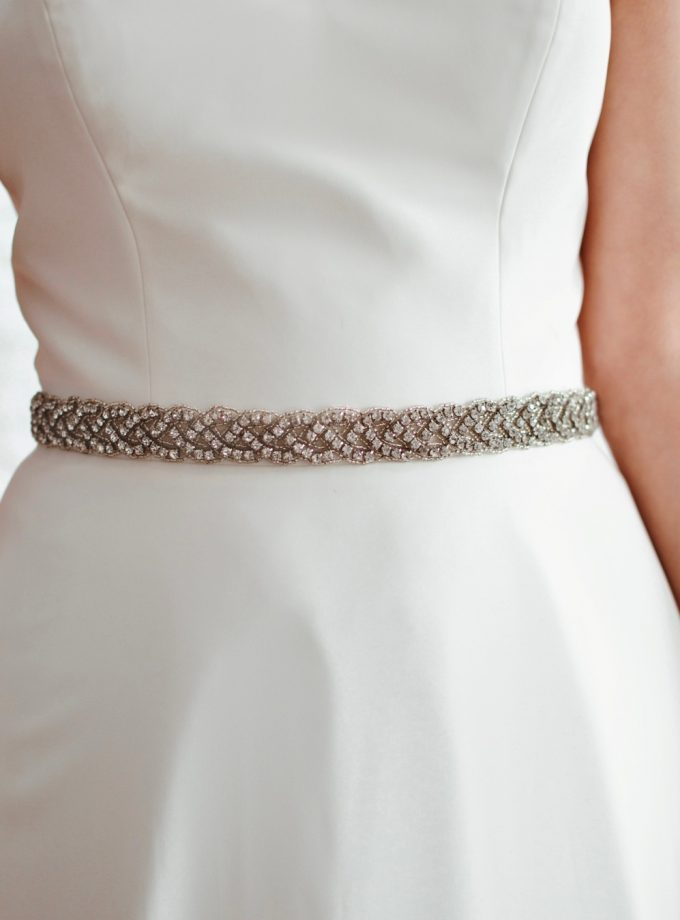 PBB1019 – plaited diamante bridal belt on model 3