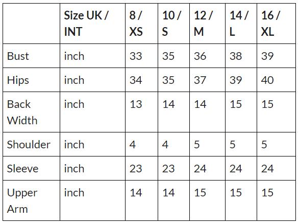 fur bolero size chart