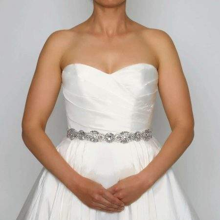 PBB1012 – diamante, pearl & seed bead bridal belt on ribbon sash