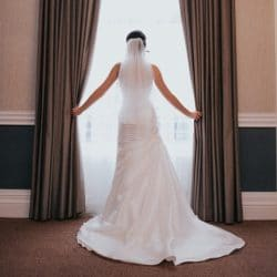 Wedding veil bride in window
