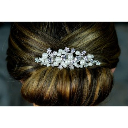 SALE! TLH3045 – diamante & pearl bridal hair comb