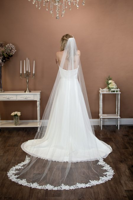 CELESTE – one layer chapel length veil with floral lace detailing